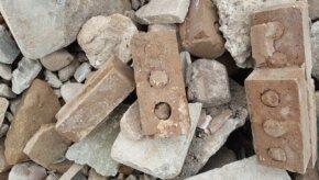 Close up of brick rubble