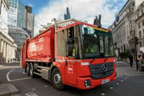 A Biffa truck driving on a London street