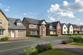 A render of new-built family homes